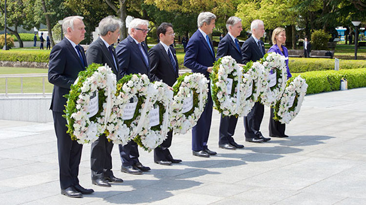Photo: Secretary of State John Kerry laid a wreath at the Hiroshima Peace Memorial Park and Museum on April 11, 2016. Credit: U.S. State Department
