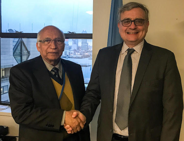 Photo: IDN-INPS' Ramesh Jaura (ledt) with UNOSSC Director Jorge Chediek at his office in New York