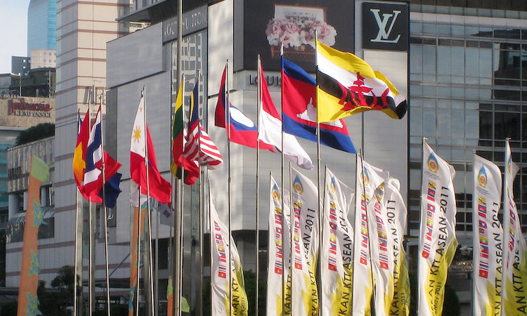 Photo: ASEAN members' flags in their headquarters in Jakarta. Credit; Wikimedia Commons.