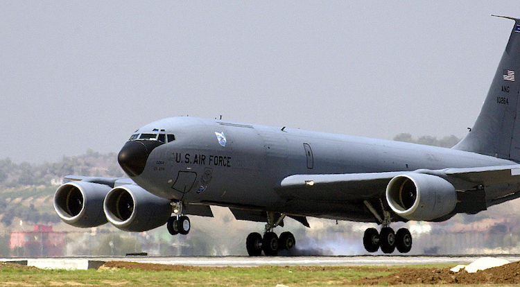Photo A U.S. Air Force Boeing KC-135R Stratotanker from the Ohio Air National Guard's 121st Air Refueling Wing at Rickenbacker International Airport, Ohio, touches down on the flightline at Incirlik, Turkey. Credit: Wikimedia Commons