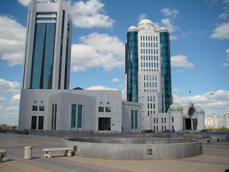 Photo: The parliament buildings in Astana, Kazakhstan. Credit: Wikimedia Commons.