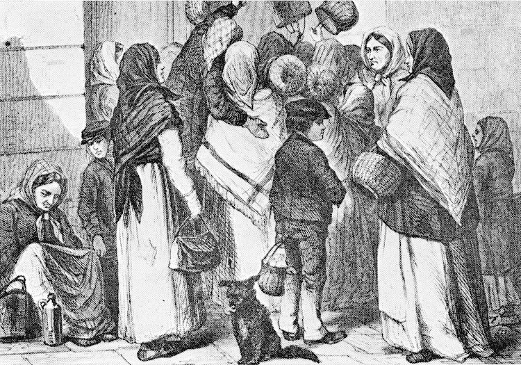 Photo: An early morning outside the Opera Tavern in Stockholm, with a gang of beggars waiting for delivery of the scraps from the previous day. Sweden, 1868. Credit: Y. Broling in Ny illustrerad tidning 1868. - Julius Ejdestam: De fattigas Sverige, Public Domain. Wikimedia Commons.