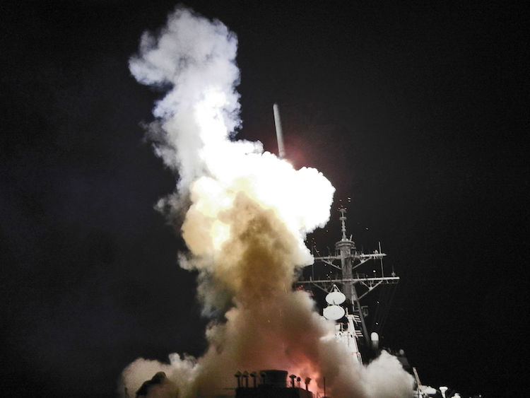 Photo: U.S. vessels launch missiles in support of the Libyan Civil War. U.S. Navy photo.