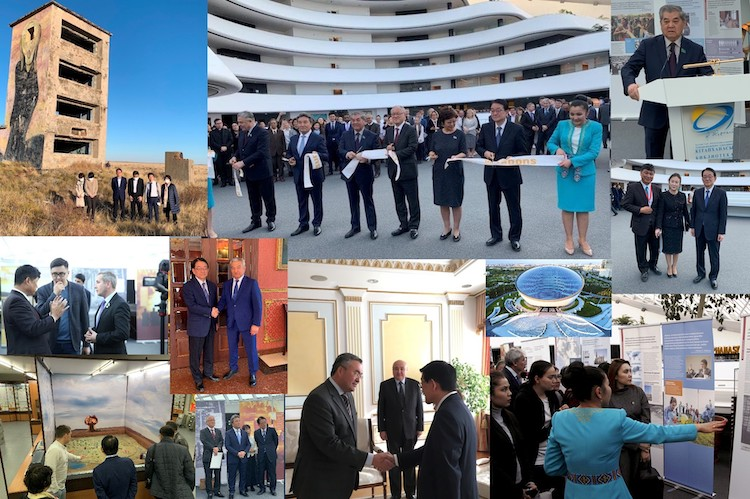 Collage of pictures depicting the opening of SGI Exhibition  'Everything You Treasure...' in Kazakhstan and the delegation's visit to Semey by Katsuhiro Asagiri, INPS-IDN Multimedia Director