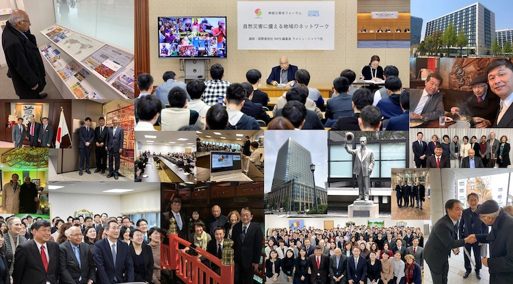 Collage of photos taken during Ramesh Jaura's week-long visit to Tokyo. Credit: Katsuhiro Asagiri | IDN-INPS Multimedia Director.