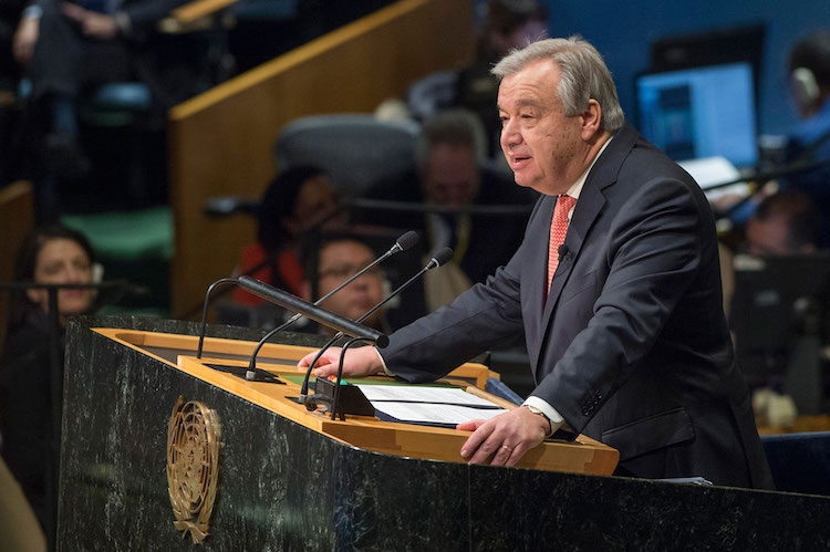 Photo: António Guterres taking the oath of office as UN Secretary-General and delivering remarks to the General Assembly. UN Photo/ Eskinder Debebe