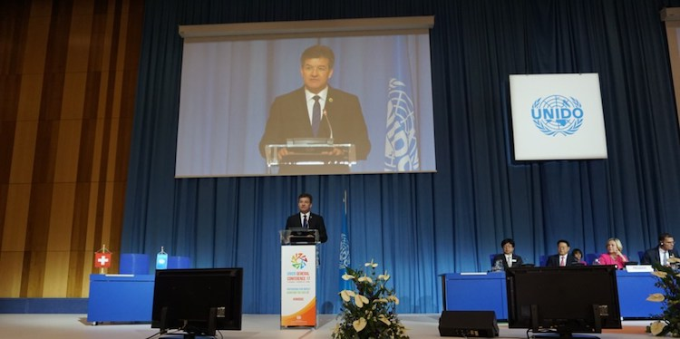 Photo: Miroslav Lajčák, President of the UN General Assembly, addressing the UNIDO General Conference on 27 November 2017 in Vienna. Credit: UN