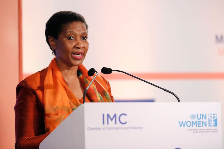 Photo: UN Women Executive Director Phumzile Mlambo-Ngcuka addressing a gathering in Mumbai. Credit: UN Women.