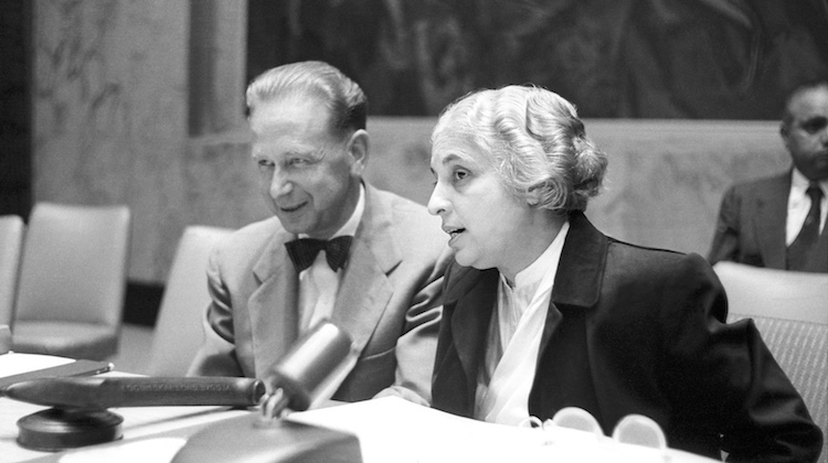 Photo: The eighth session of the United Nations General Assembly, which convened on 15 September 1953 at UN Headquarters, elected Vijaya Lakshmi Pandit of India as its President. She is photographed here with UN Secretary-General Dag Hammarskjöld. She was the first woman president ever elected by a UN General Assembly. Credit: UN Photo # 372908/AF